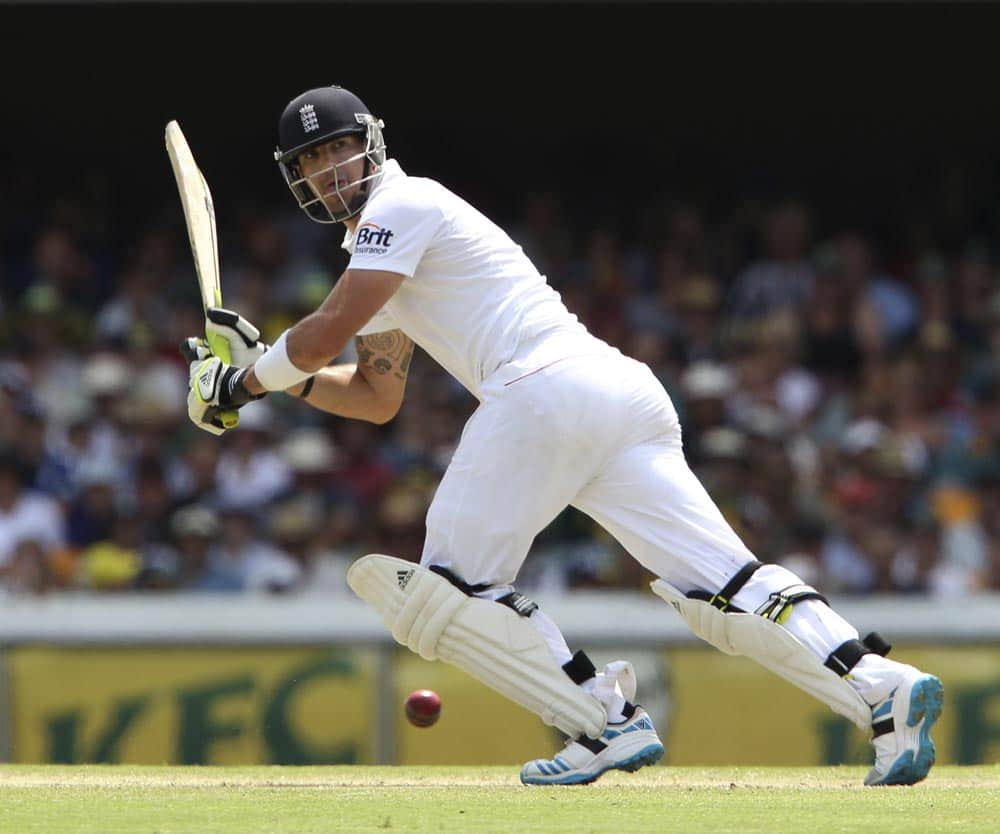 England's Kevin Pietersen plays a shot on the second day of the series-opening Ashes cricket test between England and Australia at the Gabba in Brisbane.