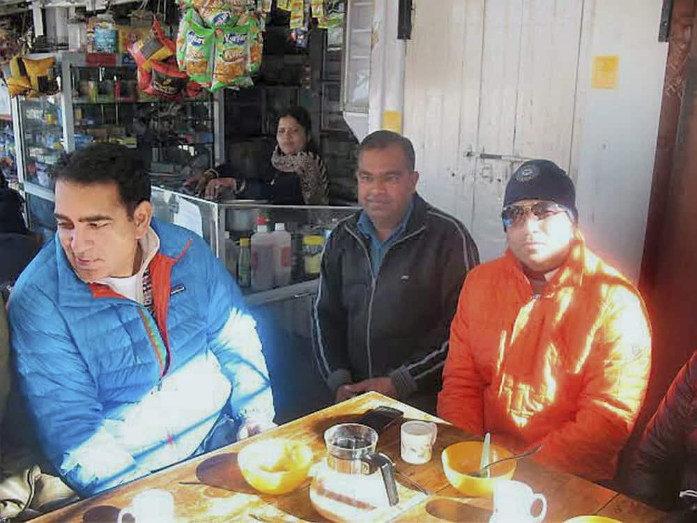 Sachin Tendulkar at a restaurant in Mussoorie.