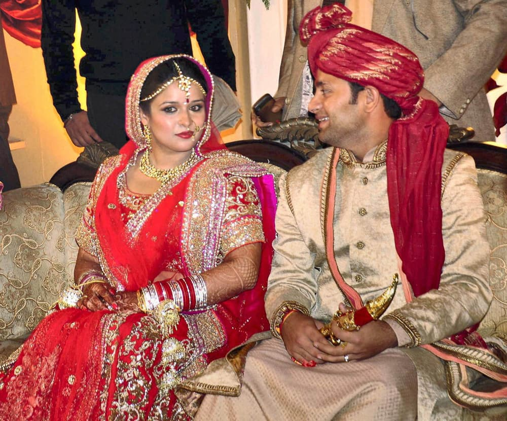 Piyush Chawla with Anubhuti Chauhan whom he married in presence of close family and friends in Moradabad.