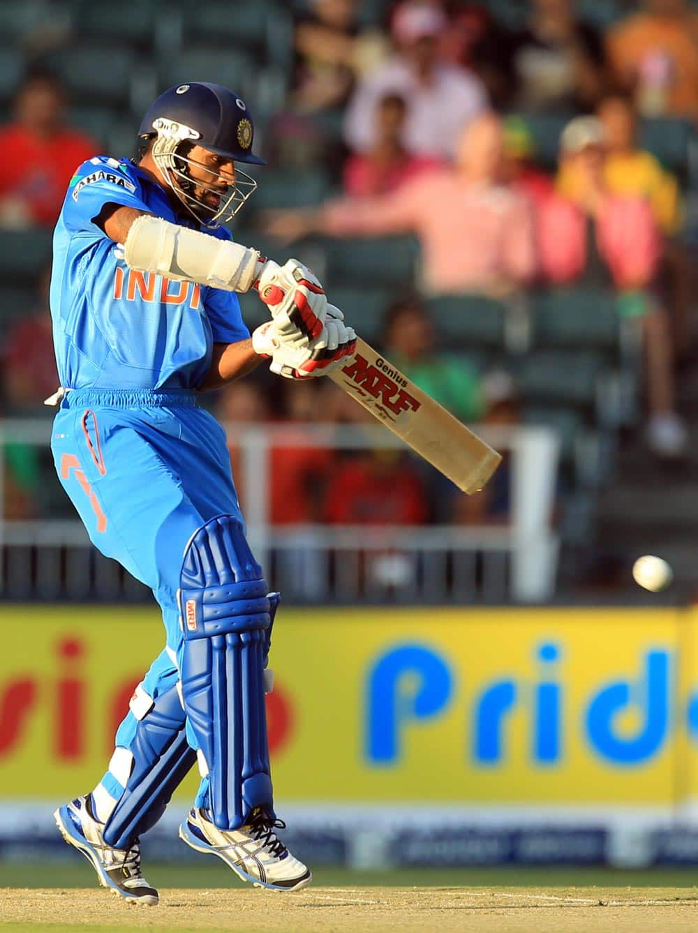 India's batsman Shikhar Dhawan, plays a shot during their 1st One Day International cricket match against South Africa at Wanderers stadium in Johannesburg, South Africa.