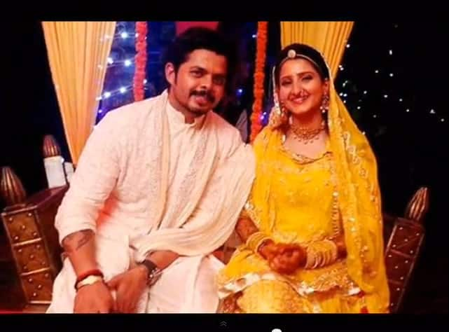 Sreesanth opted for an off white sherwani, whereas bride wore a yellow lehenga.
