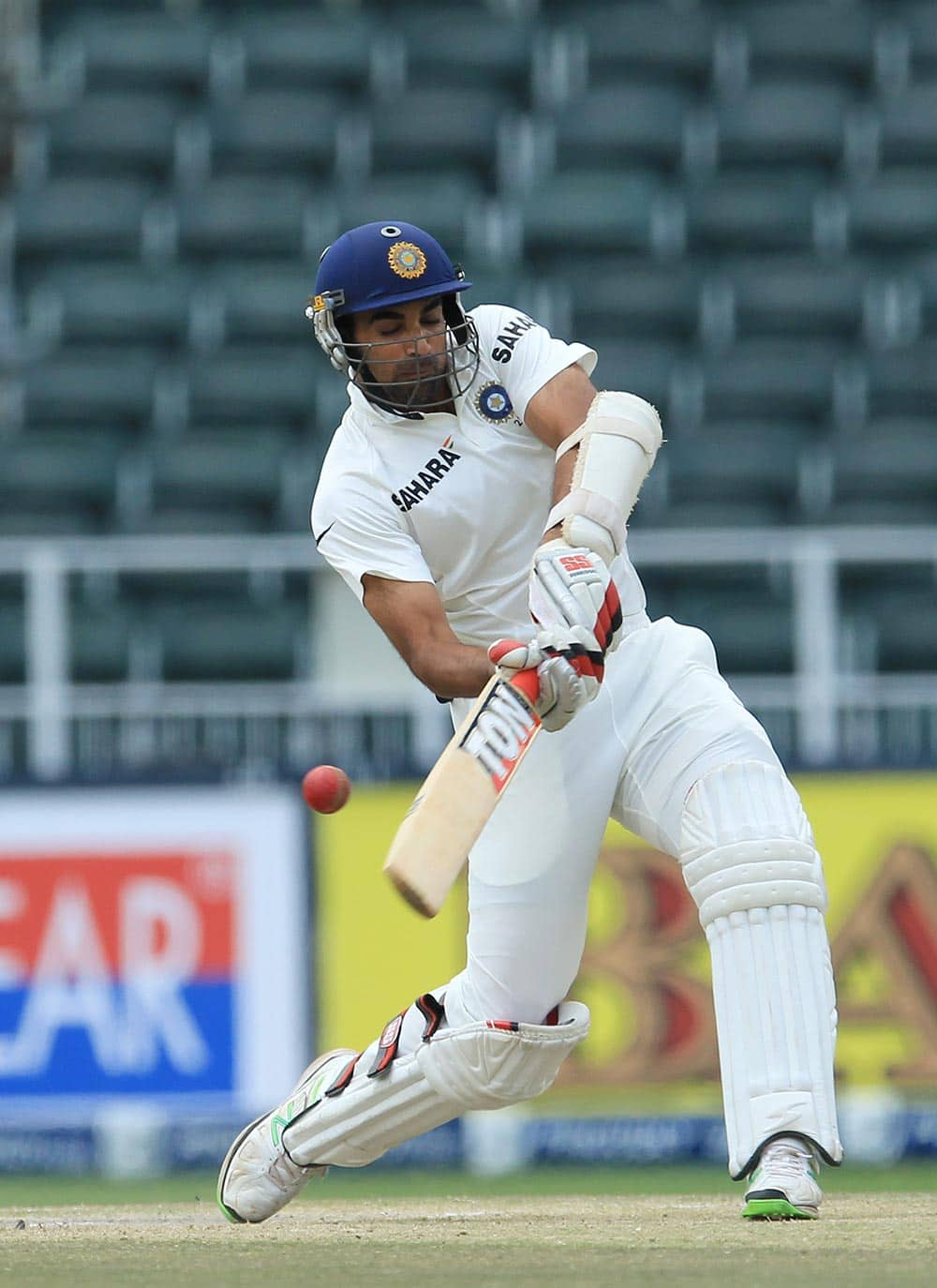 Zaheer Khan plays a shot during their 2nd innings on the fourth day of their cricket test match against South Africa at Wanderers stadium in Johannesburg.