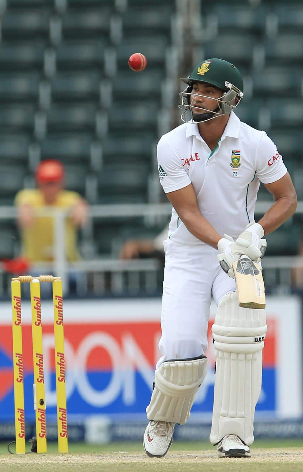 South Africa's batsman Alviro Petersen watches his shot bounce next to him, during their 2nd innings on the fourth day of their cricket test match against India at Wanderers stadium in Johannesburg.