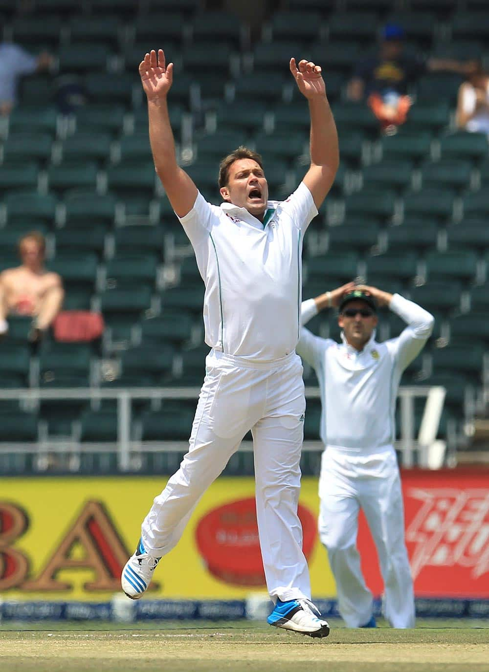 South Africa's bowler Jacques Kallis, appeals unsuccessful for LBW against India's batsman Murali Vijay, during India's 2nd innings on the third day of their cricket test match at Wanderers stadium in Johannesburg,