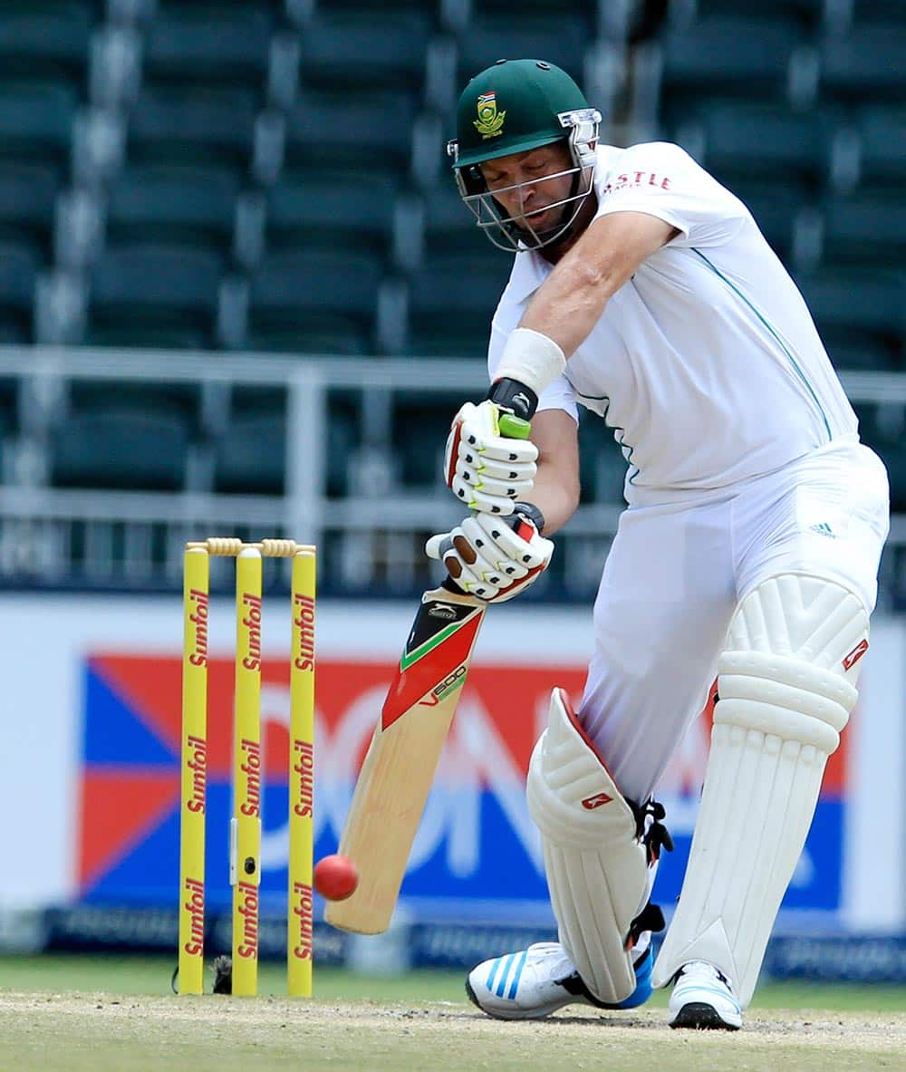 South Africa's batsman Jacques Kallis plays a shot against India during the fourth and final day of their cricket test match at Wanderers stadium in Johannesburg.