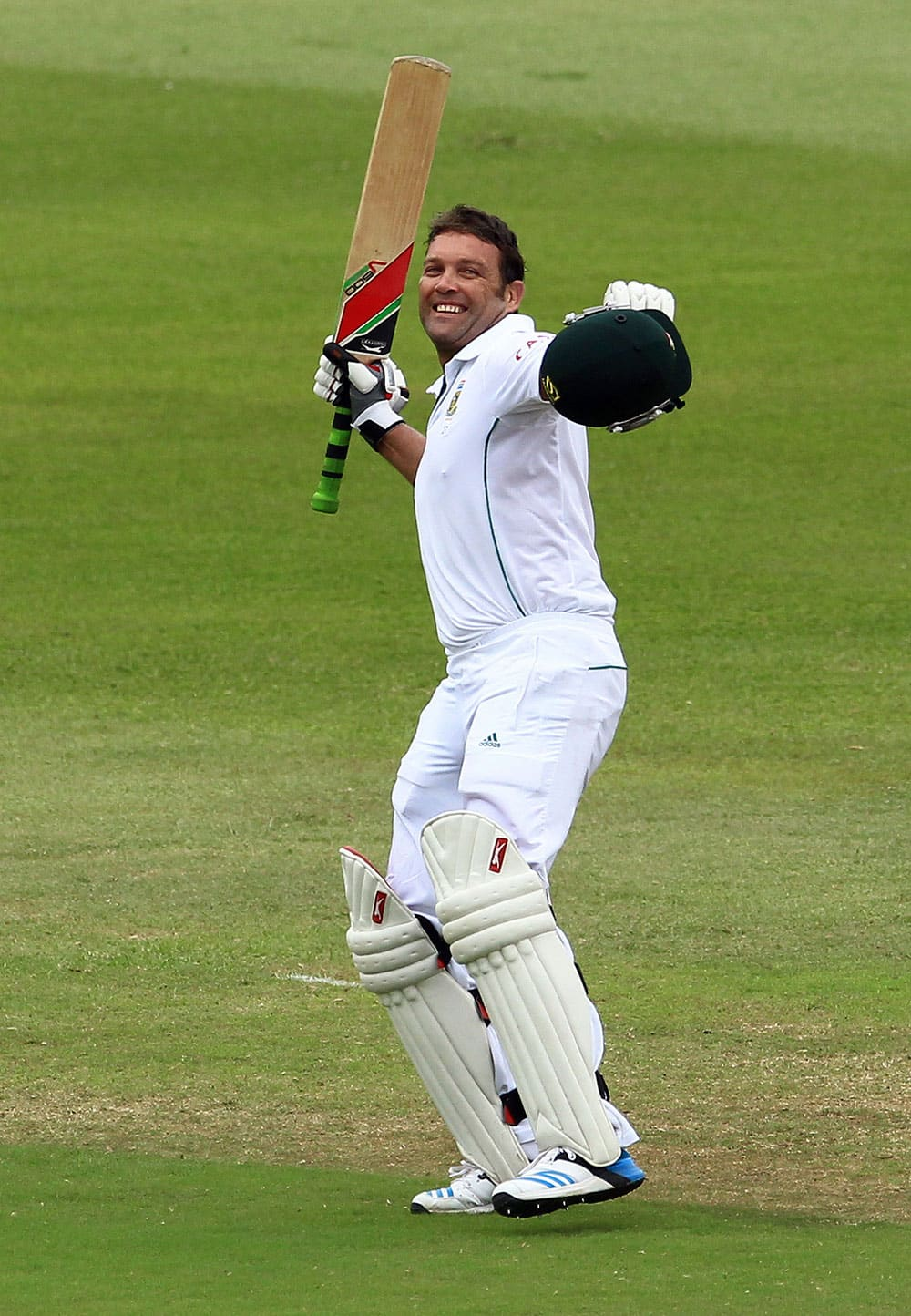 SOUTH AFRICA`S BATSMAN JACQUES KALLIS CELEBRATES HIS CENTURY ON THE FORTH DAY OF THEIR CRICKET TEST MATCH AGAINST INDIA AT KINGSMEAD STADIUM IN DURBAN, SOUTH AFRICA.