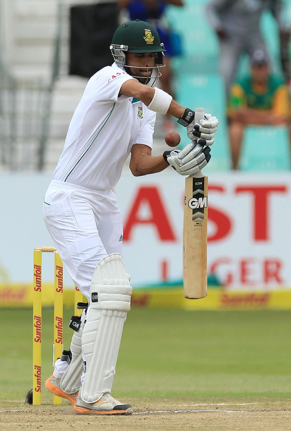 South Africa's batsman Robin Peterson plays a shot on the forth day of their cricket test match against India at Kingsmead stadium, Durban, South Africa.