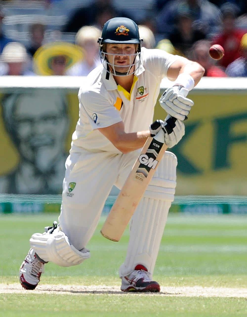 Australia's Shane Watson drives against England during their Ashes cricket test match.