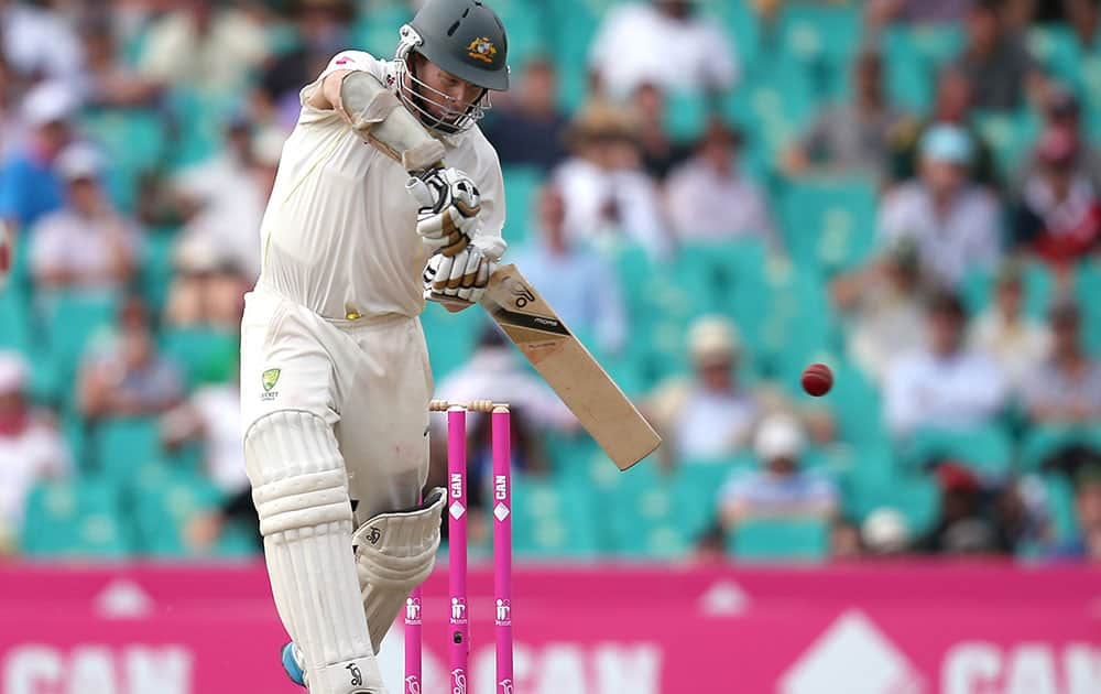 Australia's Chris Rogers drives the ball against England during their Ashes cricket test match at the Sydney Cricket Ground in Sydney.