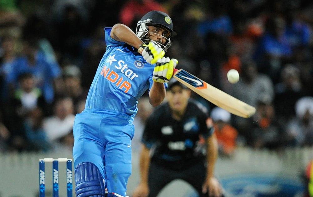 India's Ravindra Jadeja bats against New Zealand during their second one-day international cricket match, at Seddon Park, in Hamilton, New Zealand.