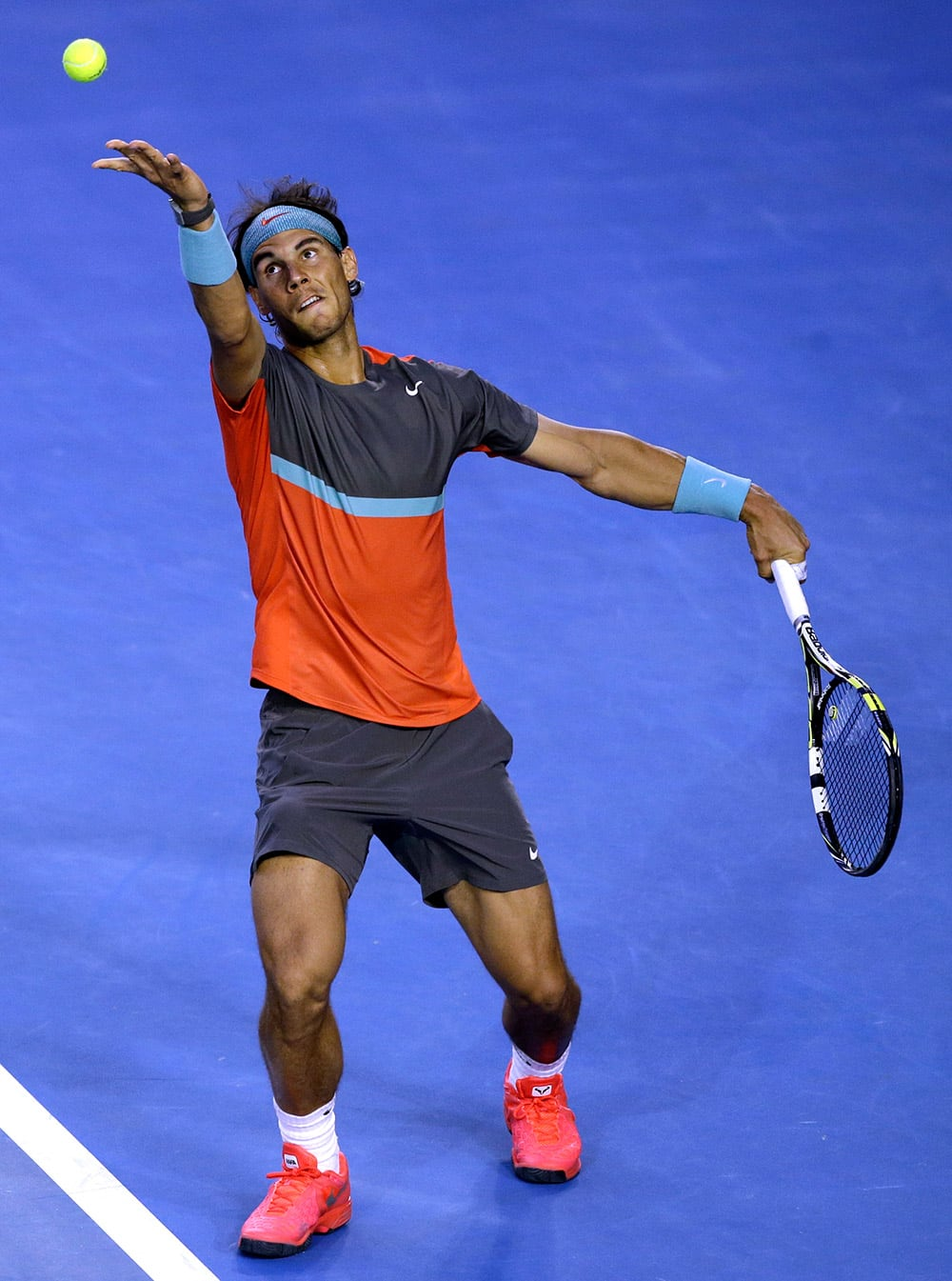 Rafael Nadal of Spain serves to Roger Federer of Switzerland during their semifinal at the Australian Open tennis championship in Melbourne.