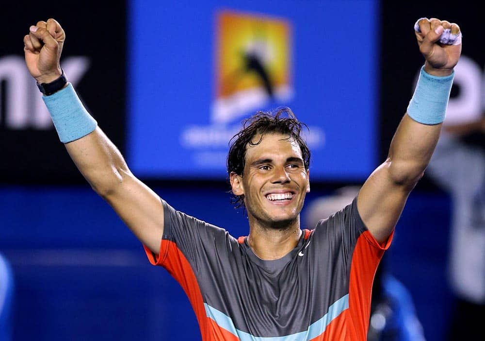 Rafael Nadal of Spain celebrates after defeating Roger Federer of Switzerland during their semifinal at the Australian Open tennis championship in Melbourne.
