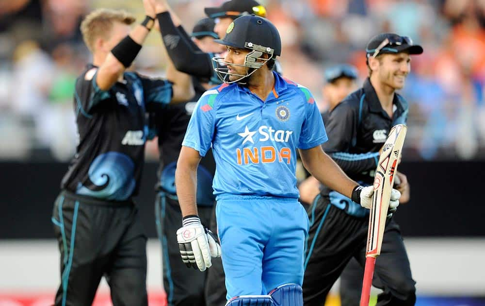 Rohit Sharma is out for 39 against New Zealand in the third one-day International cricket match at Eden Park in Auckland, New Zealand.