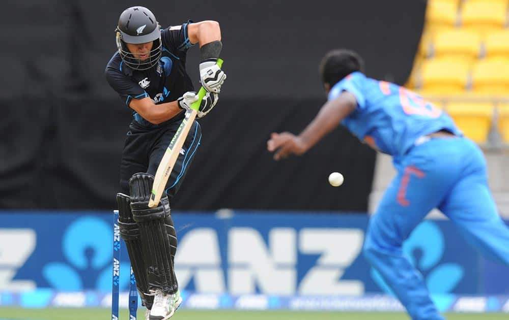 New Zealand's Ross Taylor bats off the bowling of India's Varun Aaron in the fifth and final one-day international cricket match in Wellington, New Zealand.