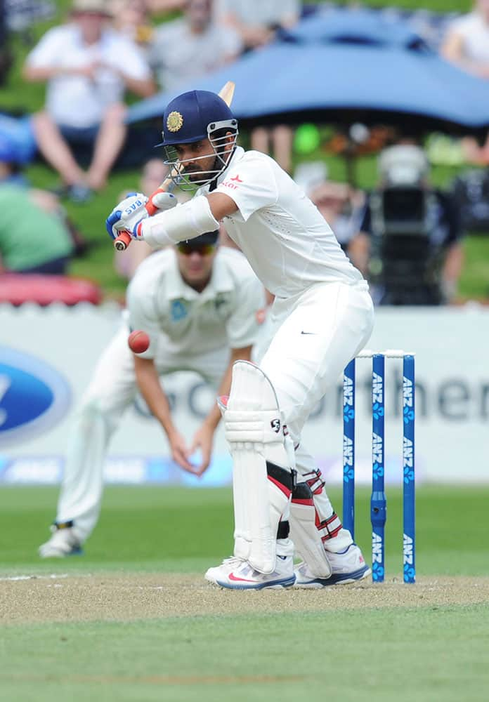 India's Ajinkya Rahane bats against New Zealand on the second day of the second cricket test in Wellington, New Zealand.