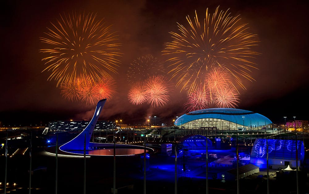 Fireworks explode over Olympic Park during the closing ceremony of the 2014 Winter Olympics.
