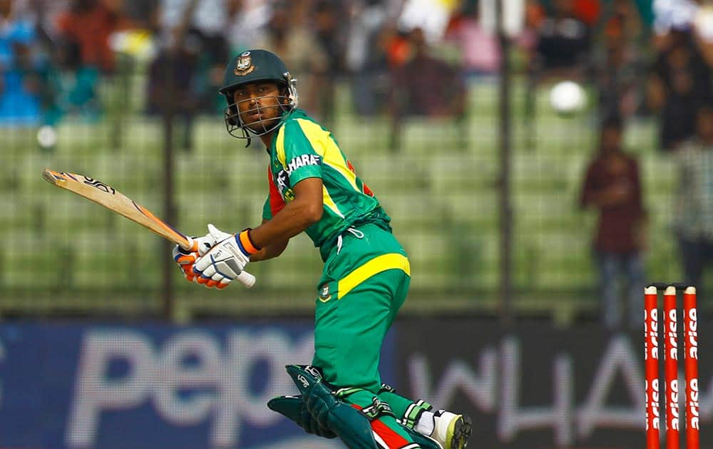 Bangladesh's Anamul Haque plays a shot during the Asia Cup one-day international cricket tournament against India in Fatullah, near Dhaka, Bangladesh.