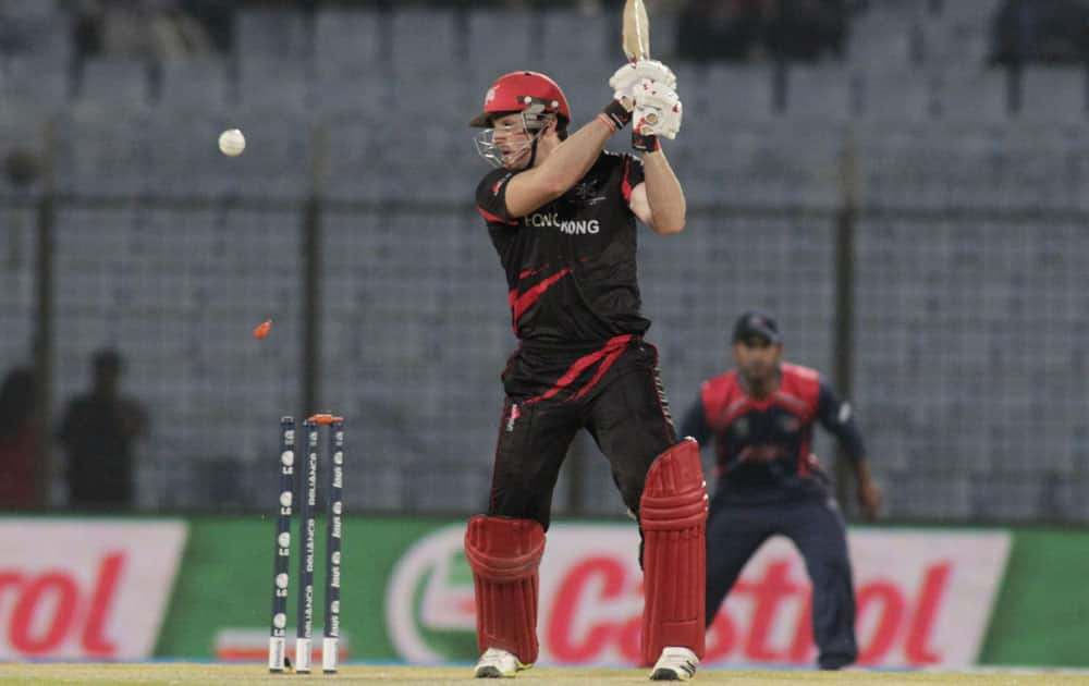 ICC World Twenty20 2014:Hong Kong captain Jamie Atkinson bowled during their match agaisnt Nepal in Chittagong (March 16, 2014)