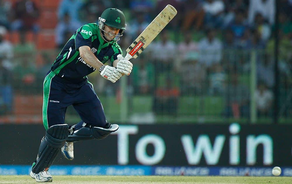 Ireland batsman Ed Joyce plays a shot during their ICC Twenty20 Cricket World Cup match against Zimbabwe in Sylhet, Bangladesh.