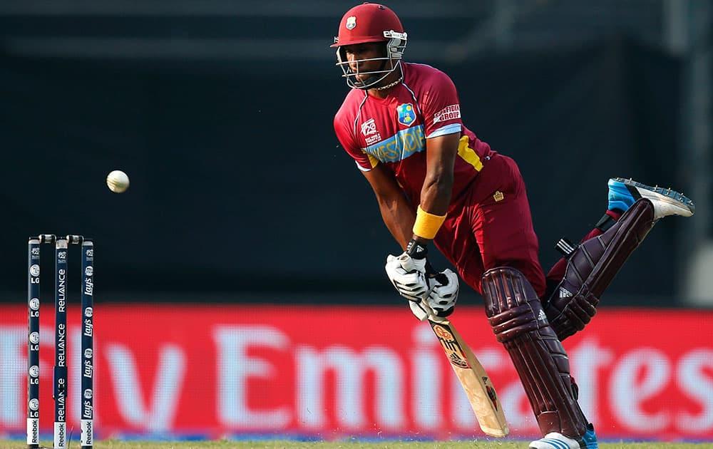 West Indies' batsman Dwayne Bravo plays a shot during their ICC Twenty20 Cricket World Cup warm up match against Sri Lanka in Dhaka.