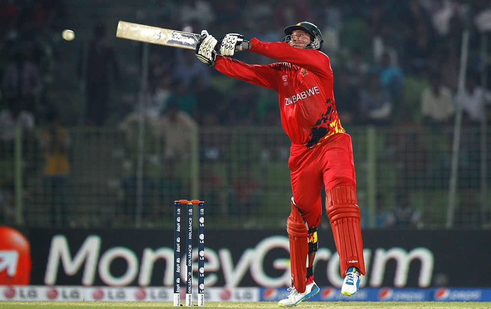 Zimbabwe's captain Brendan Taylor plays a shot during their ICC Twenty20 Cricket World Cup match against the Netherlands in Sylhet, Bangladesh.