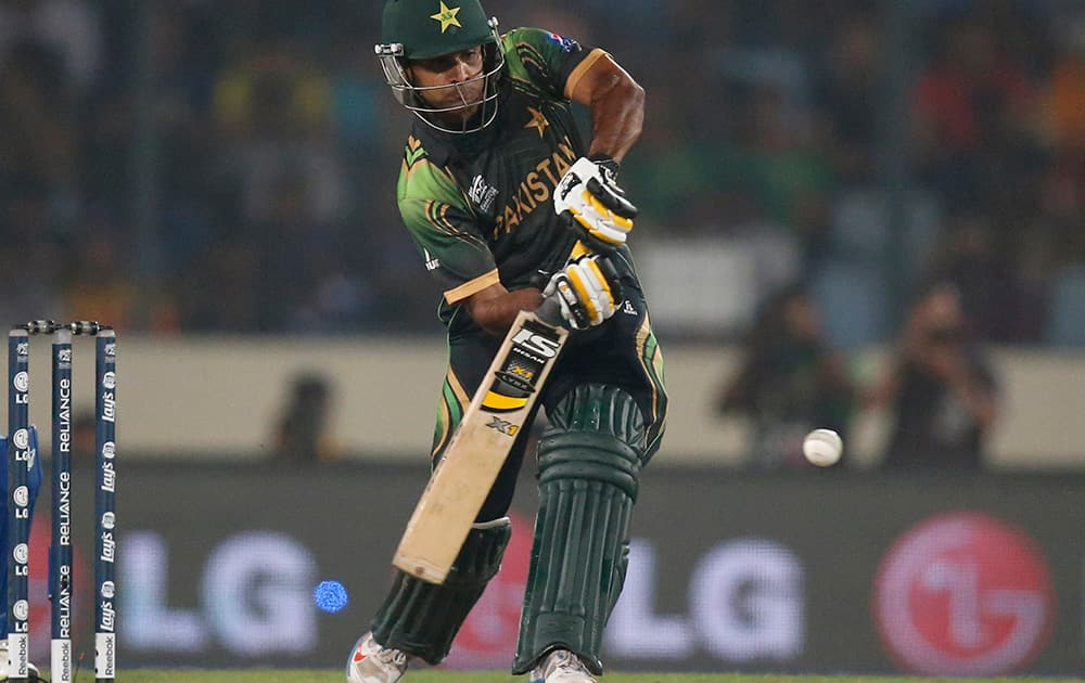 Pakistan's captain Mohammad Hafeez bats during their ICC Twenty20 Cricket World Cup match against India in Dhaka, Bangladesh.