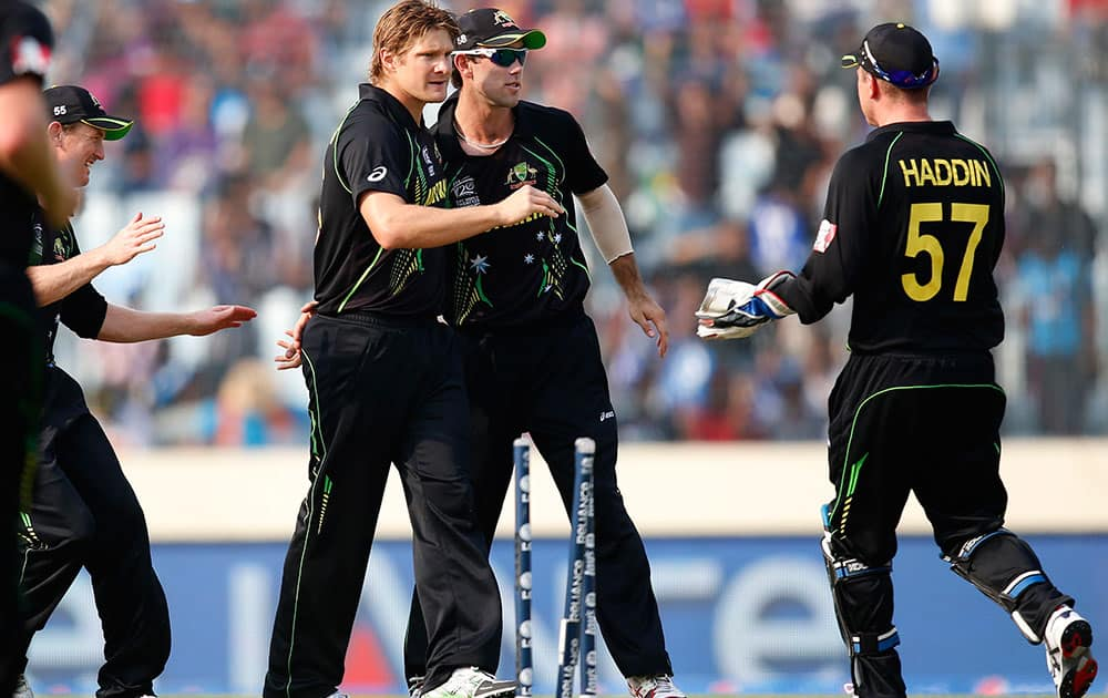 Australia's bowler Shane Watson, center left, celebrates with teammates after taking the wicket of Pakistan's captain Mohammad Hafeez during their ICC Twenty20 Cricket World Cup match in Dhaka.