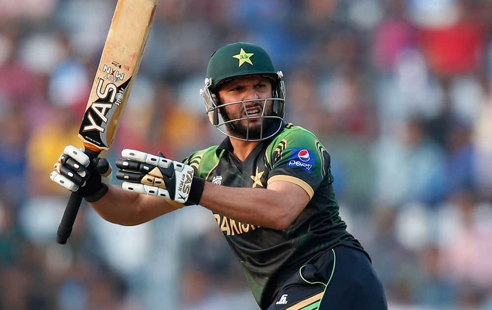 Pakistan's batsman Shahid Afridi watches his shot during their ICC Twenty20 Cricket World Cup match against Australia in Dhaka.