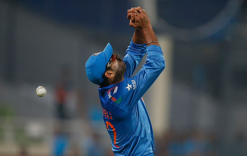 India's Yuvraj Singh drops a catch of West Indies' batsman Chris Gayle during their ICC Twenty20 Cricket World Cup match in Dhaka.