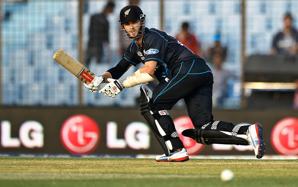 New Zealand's Kane Williamson plays a shot during their ICC Twenty20 Cricket World Cup match against South Africa in Chittagong, Bangladesh.