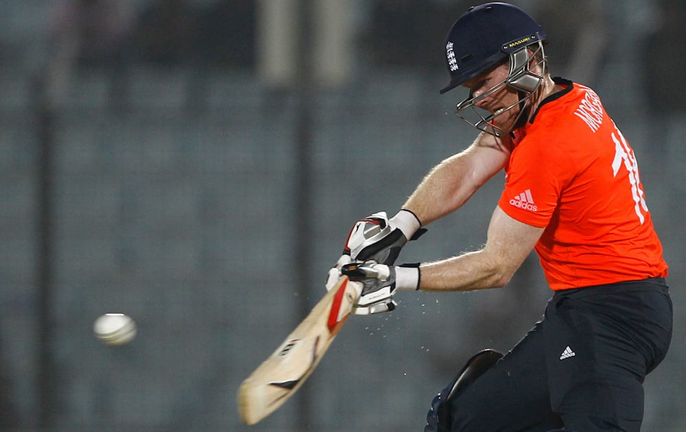 England's Eoin Morgan plays a shot during the ICC Twenty20 Cricket World Cup match against Sri Lanka in Chittagong, Bangladesh.
