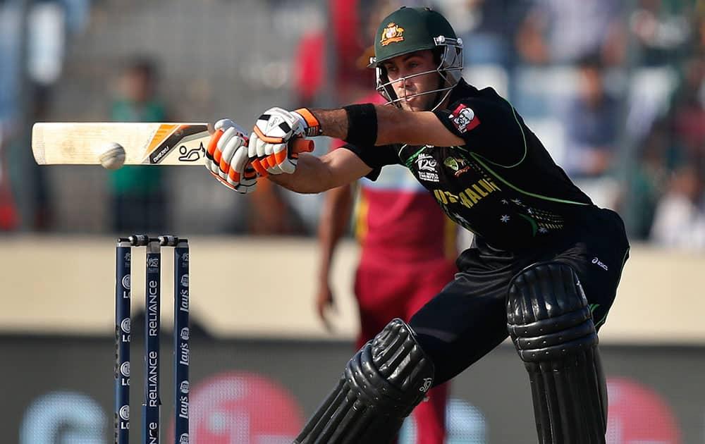 Australia's batsman Glenn Maxwell plays a shot during their ICC Twenty20 Cricket World Cup match against West Indies, in Dhaka.