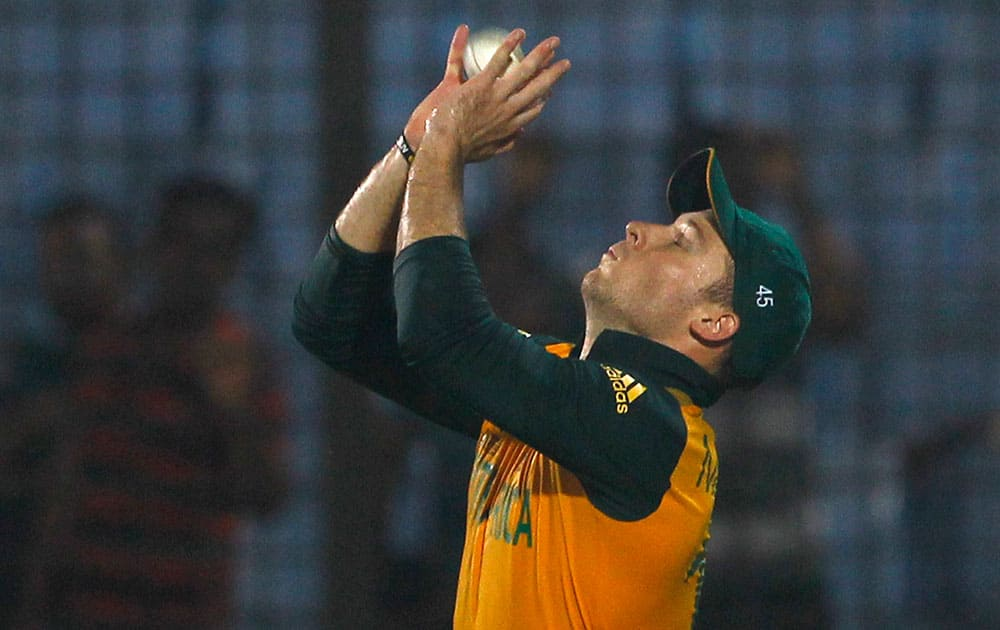 South Africa's David Miller takes a catch to dismiss England's Ravi Bopara during their ICC Twenty20 Cricket World Cup match in Chittagong, Bangladesh.