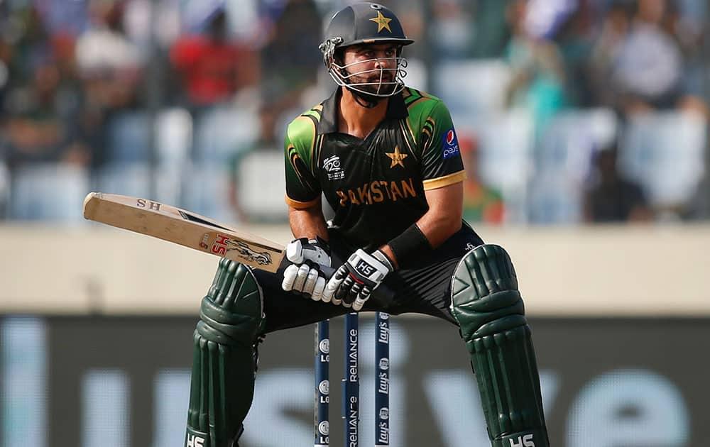 Pakistan batsman Ahmed Shehzad prepares to play a shot during their ICC Twenty20 Cricket World Cup match against Bangladesh in Dhaka, Bangladesh.