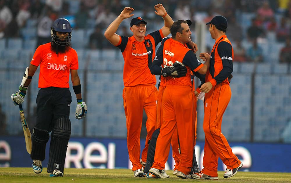 Netherlands's captain Peter Borren celebrates with his teammates the wicket of England's Moeen Ali during their ICC Twenty20 Cricket World Cup match in Chittagong, Bangladesh.