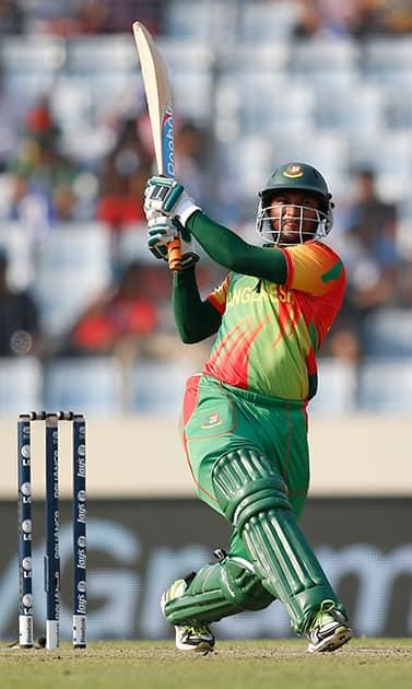 Bangladeshi batsman Shakib Al Hasan plays a shot during their ICC Twenty20 Cricket World Cup match against Australia in Dhaka