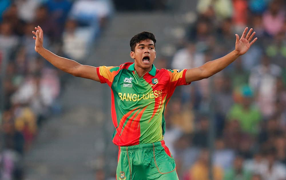 Bangladesh bowler Taskin Ahmed appeals unsuccessfully for the wicket of an Australian batsman during their ICC Twenty20 Cricket World Cup match in Dhaka.