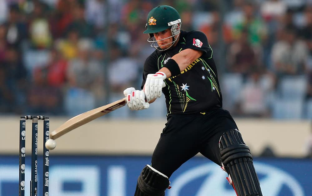 Australia batsman Aaron Finch plays a shot during their ICC Twenty20 Cricket World Cup match against Bangladesh in Dhaka, Bangladesh.