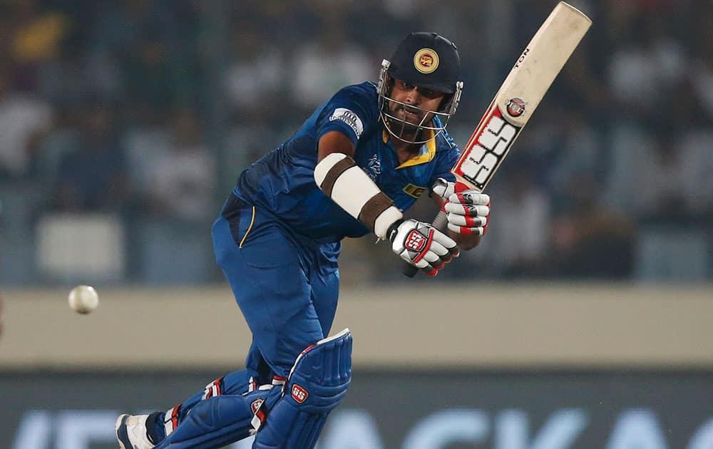 Sri Lanka's batsman Lahiru Thirimanne plays a shot during their ICC Twenty20 Cricket World Cup semi-final match against West Indies' in Dhaka.