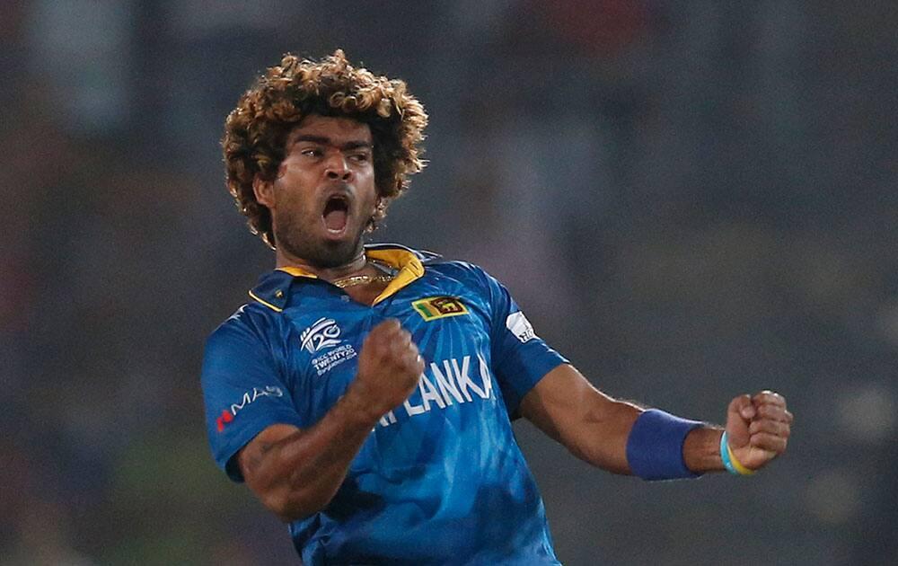 Sri Lanka's captain Lasith Malinga celebrates the dismissal of West Indies' batsman Dwayne Smith during their ICC Twenty20 Cricket World Cup semi-final match in Dhaka, Bangladesh.