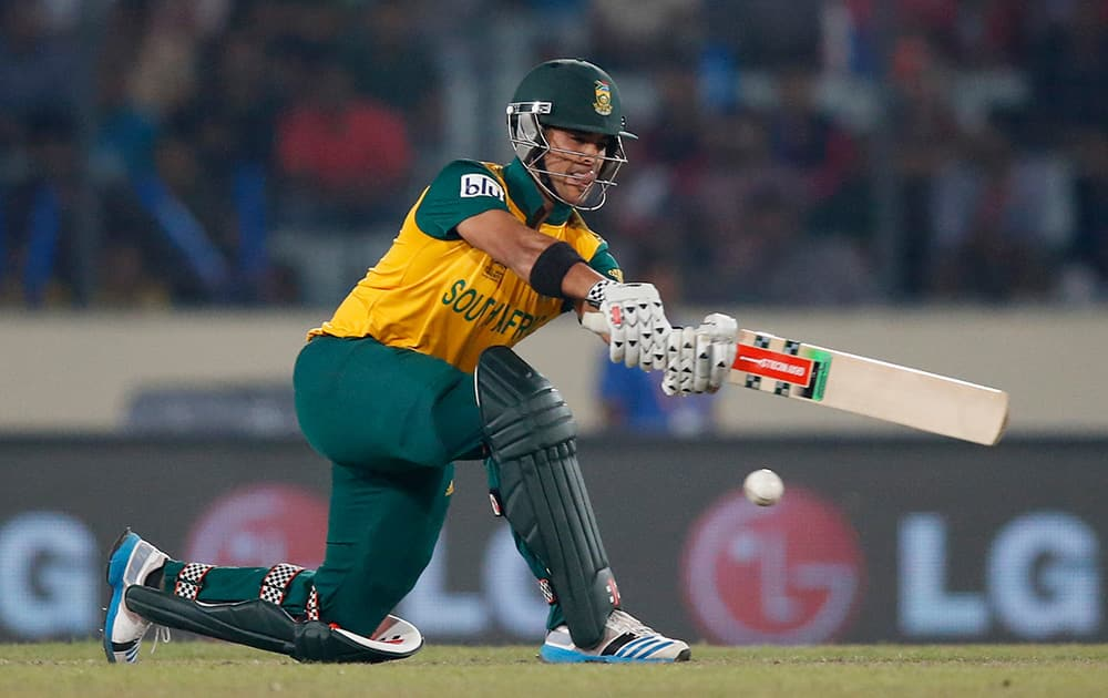 South Africa's batsman JP Duminy plays a shot during their ICC Twenty20 Cricket World Cup semi-final match against India in Dhaka, Bangladesh.