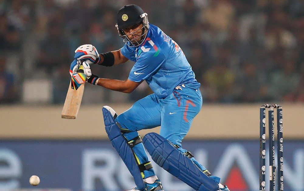 Yuvraj Singh plays a shot during their ICC Twenty20 Cricket World Cup semi-final match against South Africa in Dhaka, Bangladesh.