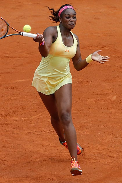 Sloane Stephens of the US returns the ball during the second round match of the French Open tennis tournament against Slovenia's Polona Hercog at the Roland Garros stadium, in Paris