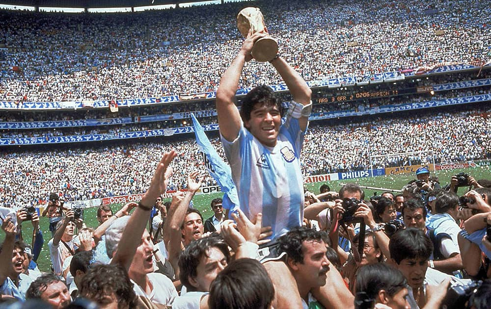 Diego Maradona: Maradona played in four FIFA World Cups, including the 1986 World Cup where he captained Argentina and led them to victory over West Germany in the final, and won the Golden Ball award as the tournament's best player.