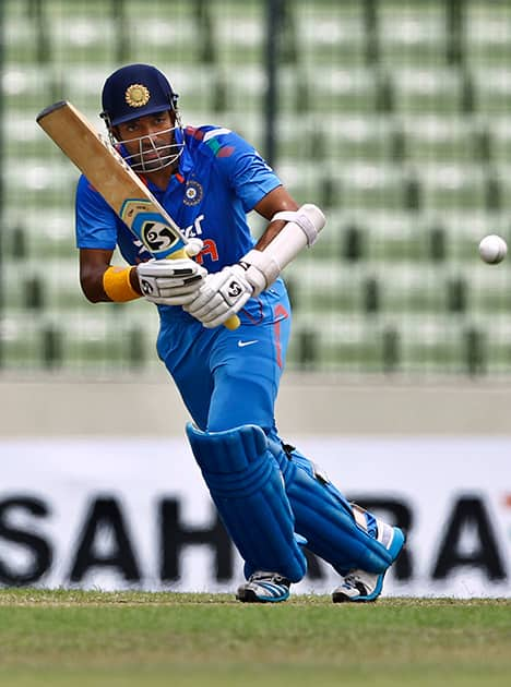 India's Robin Uthappa plays a shot during their third one-day International cricket match against Bangladesh in Dhaka.