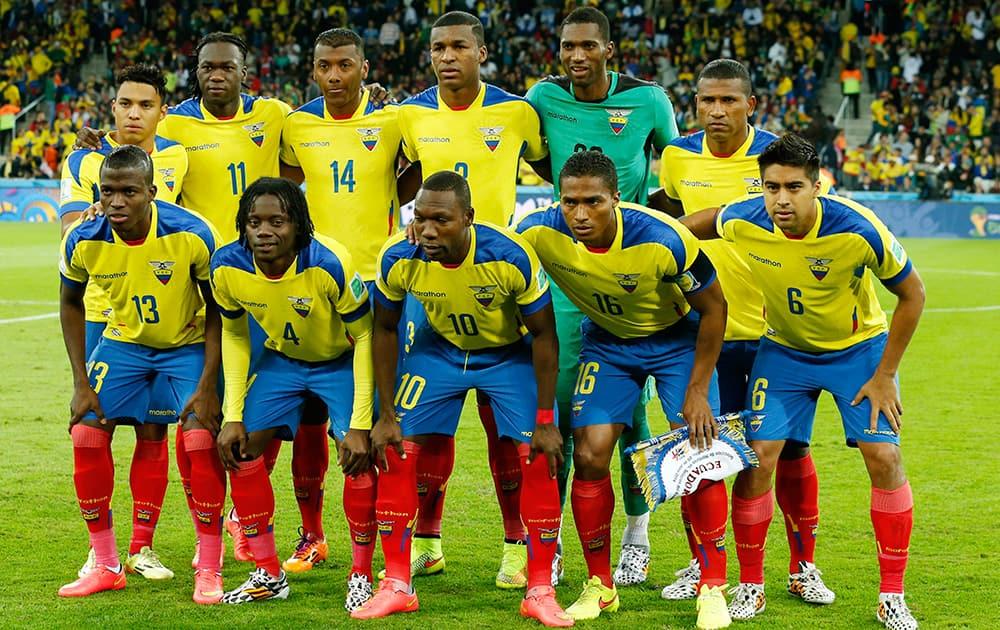 The Ecuador team pose for a group photo before the group E World Cup soccer match between Honduras and Ecuador at the Arena da Baixada in Curitiba, Brazil.