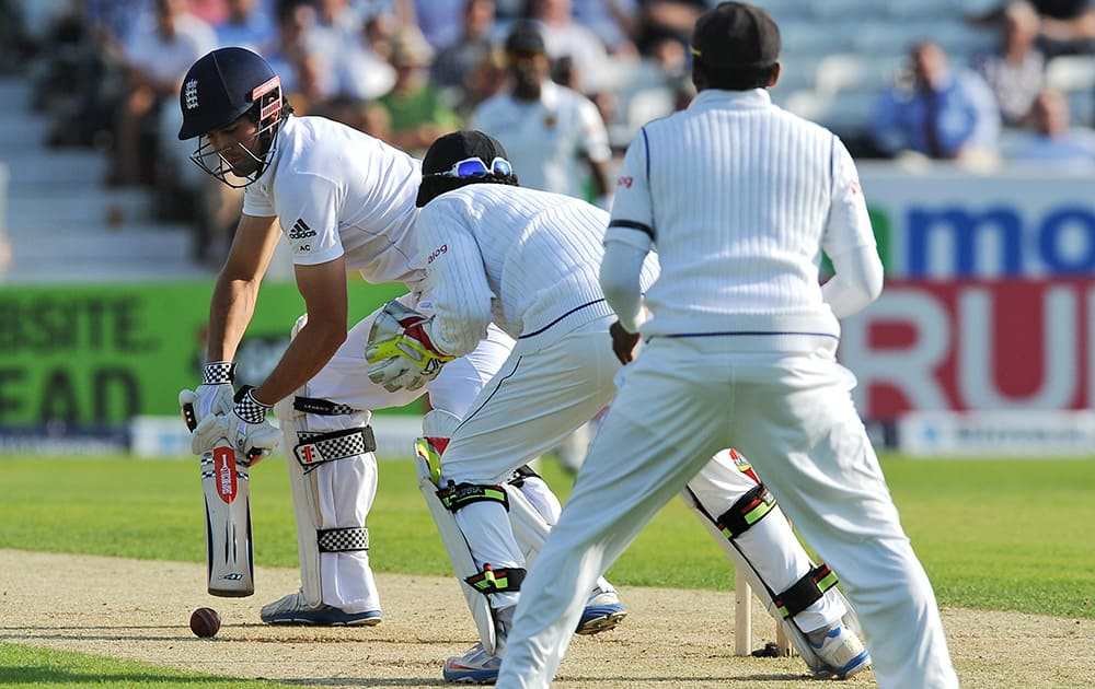England's Alastair Cook takes a shot, during the Second Test Match against Sri Lanka, at Headingley cricket ground, Leeds, England.