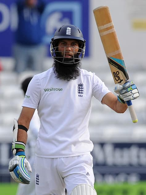 England's Moeen Ali celebrates a century during day five of the Second Test Match between England and Sri Lanka at Headingley cricket ground, Leeds, England.