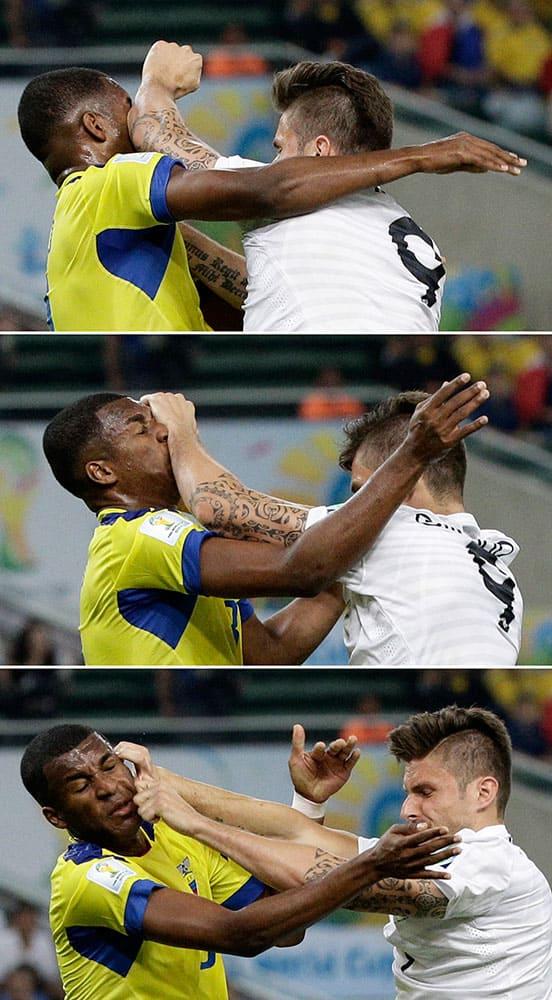 The combo show France's Olivier Giroud, right, clashing with Ecuador's Frickson Erazo during the group E World Cup soccer match between Ecuador and France at the Maracana Stadium in Rio de Janeiro, Brazil.