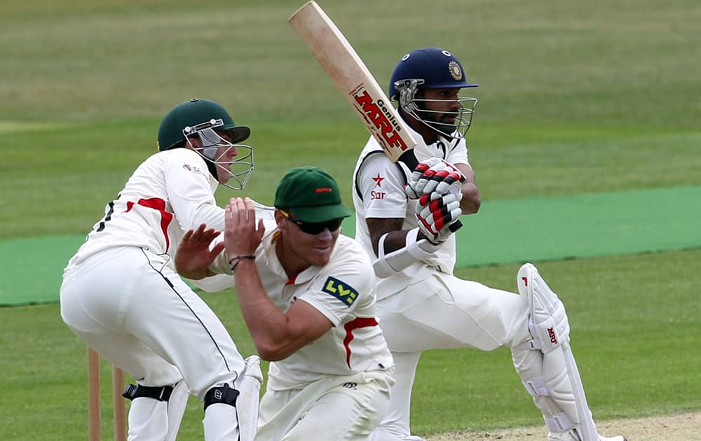 Shikhar Dhawan plays a shot during day one of the international warm up match against Leicestershire at Grace Road, Leicester England.